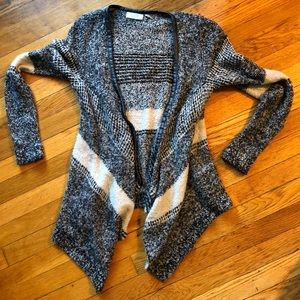 Gray knit slouchy cardigan with faux leather trim